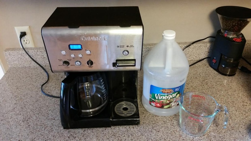 White Vinegar is an inexpensive and one of the best cleaners for a drip coffee maker!